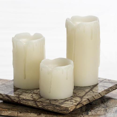 Inglow Flameless Mini Pillar Candles - 3 pk.