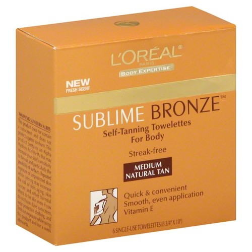 L'Oreal sublime bronze self-tanning towelettes, for body, medium natural tan, 6 towelettes
