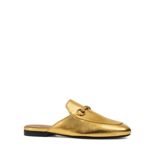 GUCCI Princetown Metallic Slippers