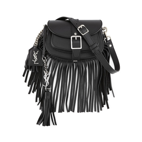 SAINT LAURENT Mini Curved Fringe Saddle Bag, Black