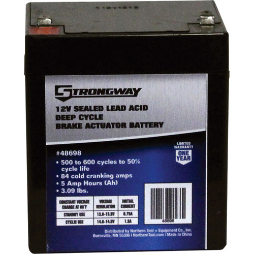 Strongway Deep Cycle Brake Actuator Battery  12 Volt, 5 Ah, Sealed Lead Acid