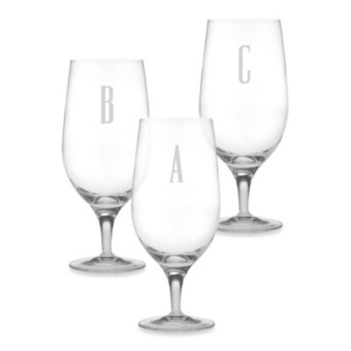 Susquehanna Glass Monogrammed Block Letter Iced Beverage (Set of 4)