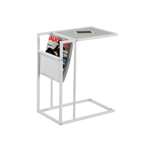 Monarch Speciality ACCENT TABLE - WHITE, WHITE METAL WITH A MAGAZINE RACK