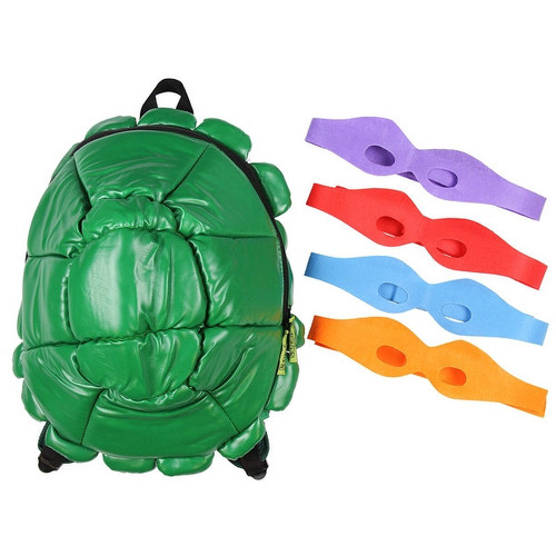 Bioworld Nickelodeon TMNT Shell Backpack Green With 4 Masks