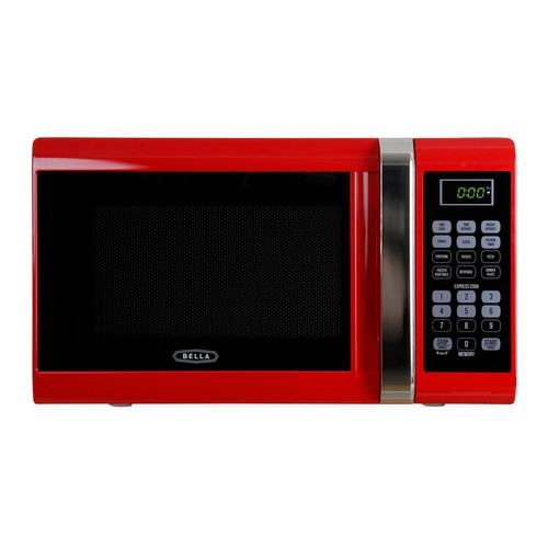 Bella 0.9 cu. ft. 900-Watt Countertop Microwave Oven in Red with Chrome