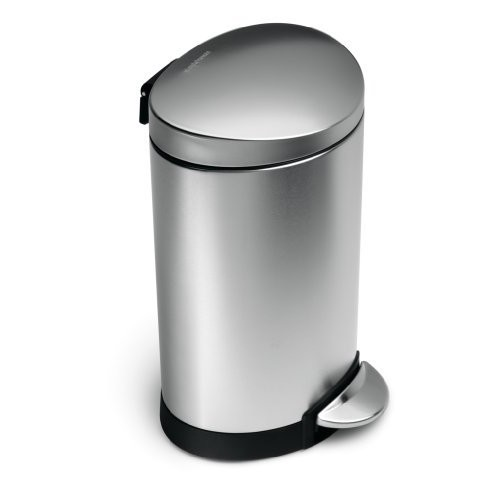 simplehuman Mini Semi-Round Step Trash Can, Stainless Steel, 6 L / 1.6 Gal [Brushed Stainless Steel]