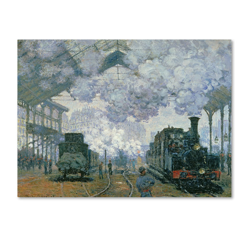 Trademark Global Claude Monet 'Gare Saint-Lazare Arrival of a Train' Canvas Art [Overall Dimensions : 14x19]