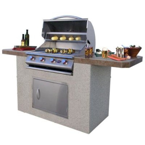 Cal Flame 7 ft. Stucco and Tile BBQ Island with 4-Burner Grill in Stainless steel