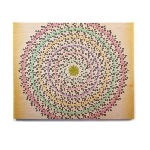East Urban Home Pastels Abstract 'Leafy Watercolor Mandala' Graphic Art Print on Wood