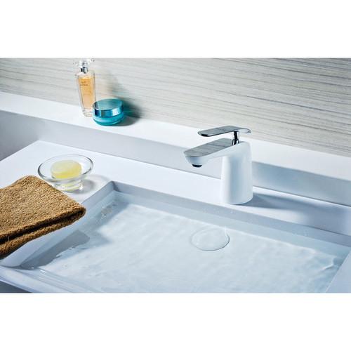 ANZZI Etude Series Single Hole Single-handle Low-arc Bathroom Faucet in Polished Chrome