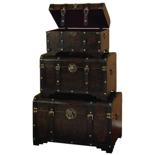 Wood Leather Trunk Set Of 3 Set Of Three Usable Leather Trunk