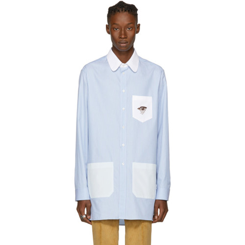 GUCCI Blue Twill Embroidered Hawk Shirt