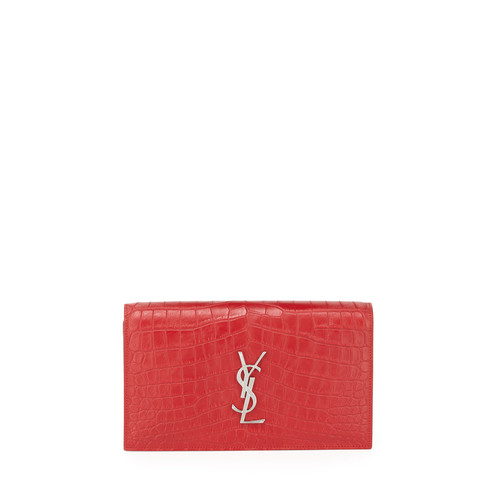 SAINT LAURENT Croc-Embossed Leather Clutch Bag, Rouge Red