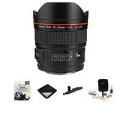 Canon EF 14mm f/2.8L II USM Wide Angle Lens - U.S.A. Warranty - Bundle With Pro-Optic Lens Wrap 15X15 Black, 2 Year Extended (Drop and Spills) Warranty, cleaning Kit, Lenspen
