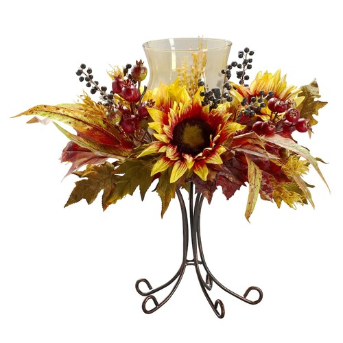 Nearly Natural 16 in. H Yellow Sunflower Candelabrum