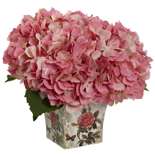 Nearly Natural Hydrangea Silk Arrangement with Floral Planter [Height (in.) : 9]