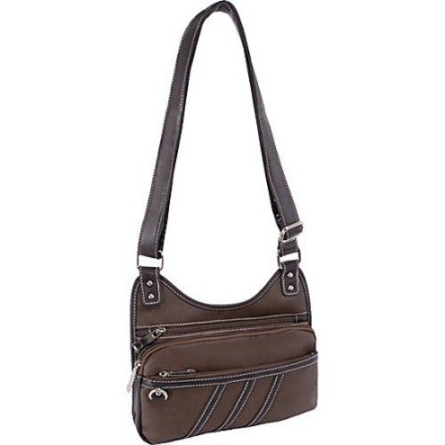 Multi Zip Crossbody Bag in Brown