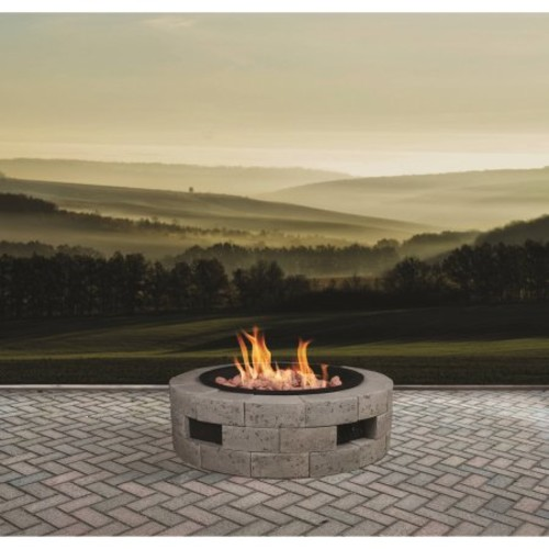 Bond Manufacturing 39 in. Round Gas Insert Stainless Steel Fire Pit with Brick Fire Table