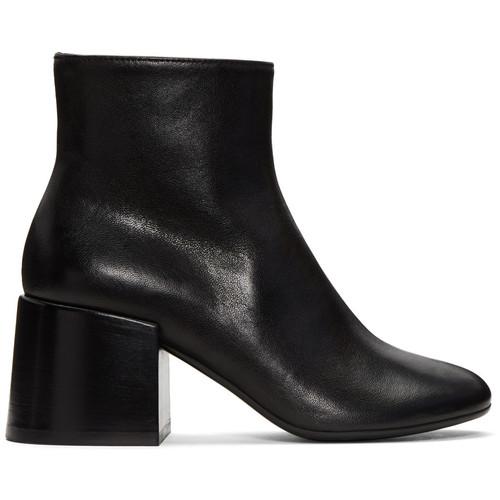 Black Cube Heel Boots