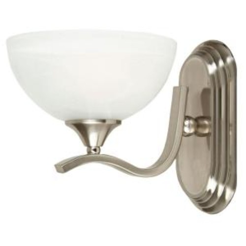 Yosemite Home Decor Glacier Point Collection 1-Light Satin Nickel Bathroom Vanity Light with Ivory Cloud Shade