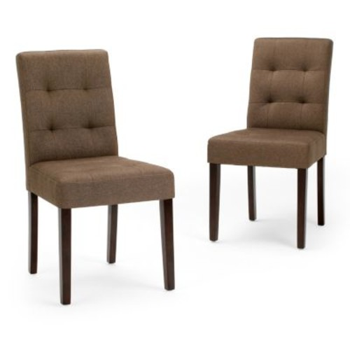 Simpli Home Andover Brown Fabric Dining Chair (Set of 2)