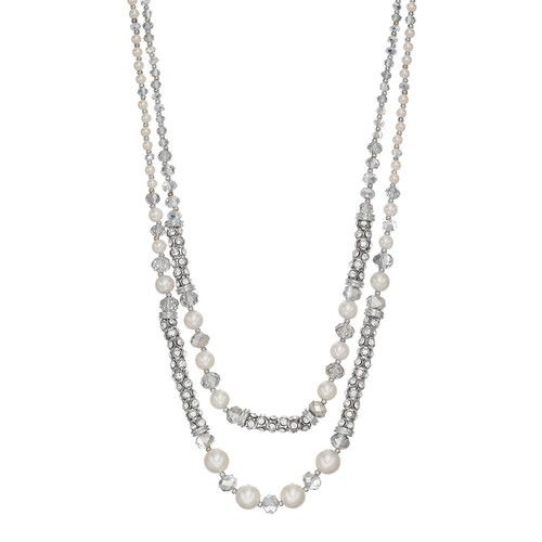 Simulated Pearl & Simulated Crystal Double Strand Necklace
