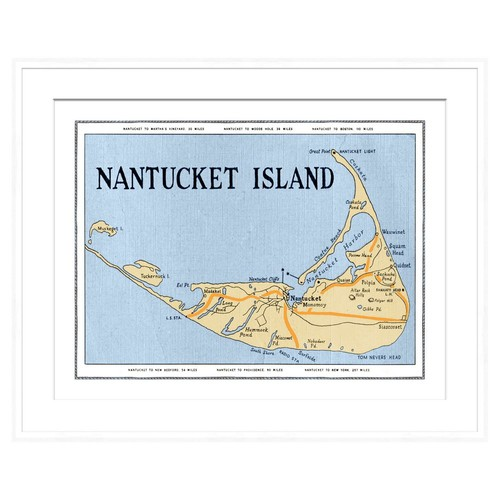 Nantucket Map in White Frame