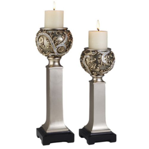 ORE International Candles & Candle Holders Silver Vine Candle Holder Set