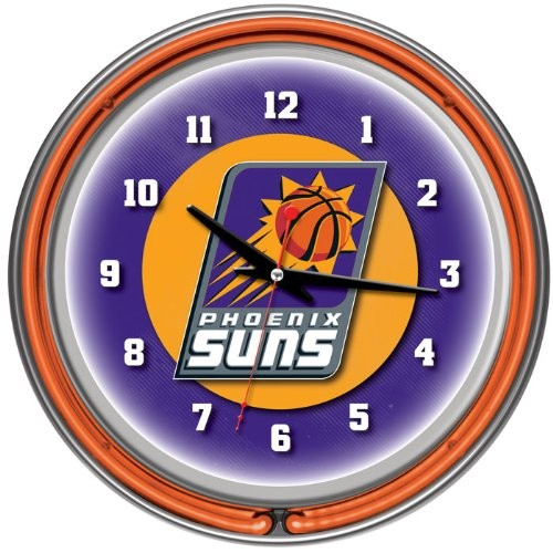 Phoenix Suns NBA Chrome Double Ring Neon Clock