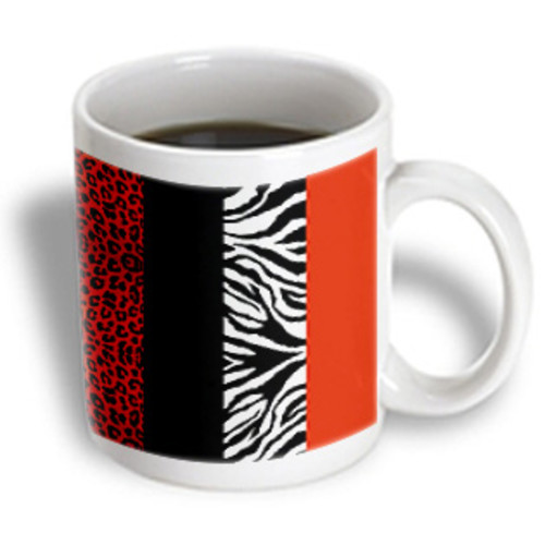 3dRose - Janna Salak Designs Prints and Patterns - Red Black Orange and White Animal Print - Leopard and Zebra - 15 oz mug