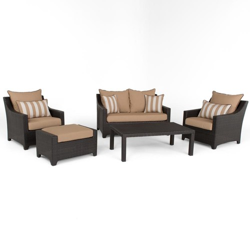 RST Brands Deco 5-Piece Aluminum All-Weather Wicker Patio Love and Club Seating Set with Maxim Beige Cushions