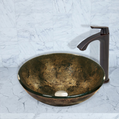 VIGO Sintra Glass Vessel Sink and Linus Faucet Set in Antique Rubbed Bronze Finish