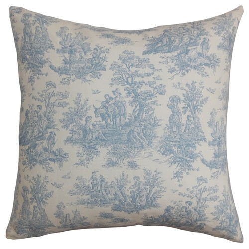 Lalibela Toile Baby Blue Feather Filled Throw Pillow