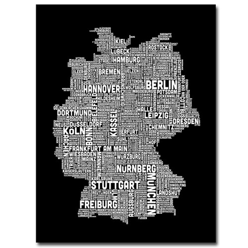 Trademark Global Michael Tompsett 'Germany Text Map I' Canvas Art [Overall Dimensions : 18x24]
