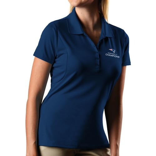Antigua Women's Super Bowl LI Champions New England Patriots Pique Xtra-Lite Navy Polo