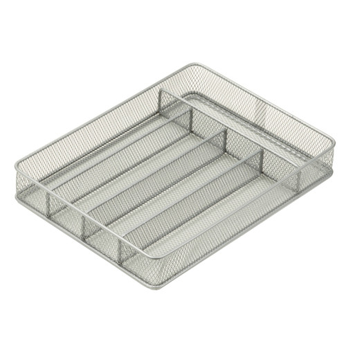 Honey Can Do KCH-02154 Silver 5 Compartment Steel Mesh Cutlery Utensil Organizer