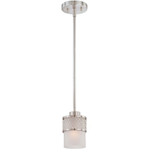 Cambridge 1-Light Brushed Nickel 7 in. Pendant with Tiger Glass