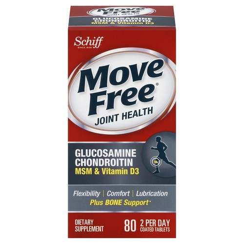 Schiff Move Free Glucosamine Chondroitin, MSM & Vitamin D3, Coated Tablets, 80 tablets