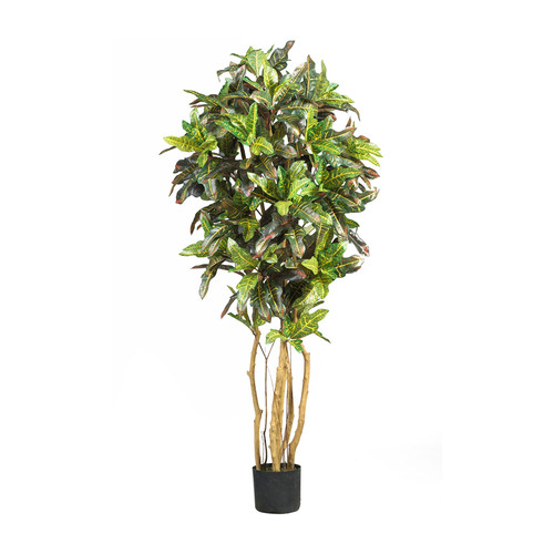 Nearly Natural Home Accent 5' Croton Silk Tree Green
