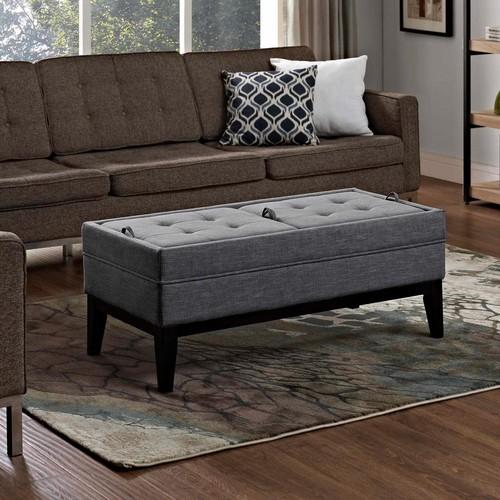 Simpli Home Castlerock Slate Grey Storage Bench