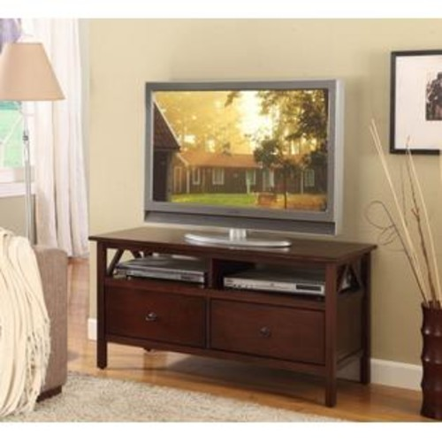 LINON HOME DECOR PRODUCTS, INC Linon Home Decor 86158ATOB-01-KD-U Titian Tv Stand- Antique Tobacco Finish