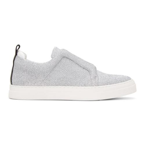 Silver & Black Slider Sneakers