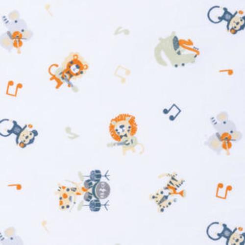 Trend Lab TrendLab 101627 Safari Rock Band Multicolored Animal Fitted Crib Sheet, Blueu0026#44; Grayu0026#44; Green u0026 Orange