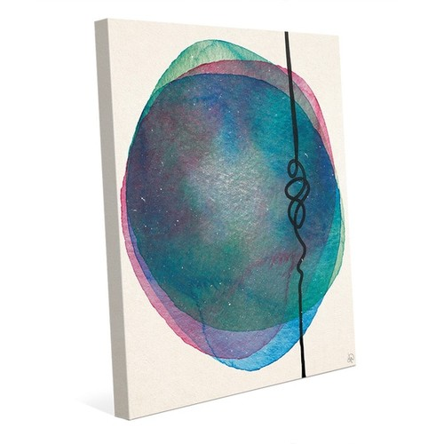 Watercolor and String Wall Art Print on Canvas