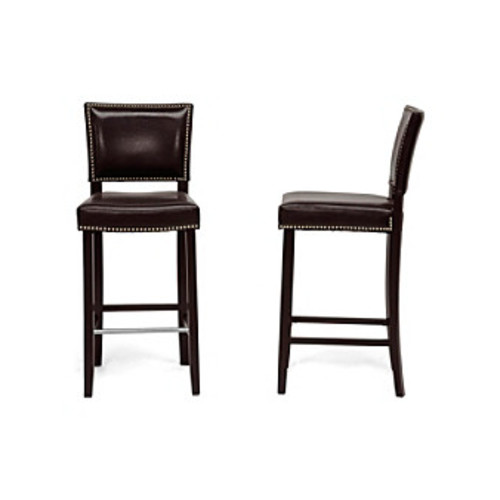 Baxton Studios Aries Set of 2 Modern Bar Stools with Nail Head Trim