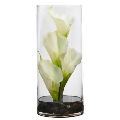 Nearly Natural Calla Lily Artificial Arrangement in Cylinder Glass Vase
