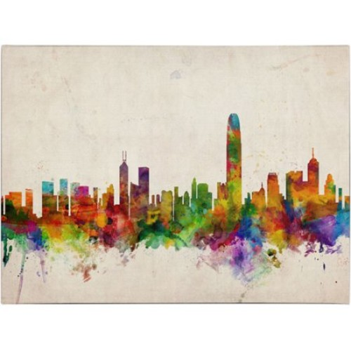 Hong Kong Skyline by Michael Tompsett, 16 by 24-Inch Canvas Wall Art [16 by 24-Inch]