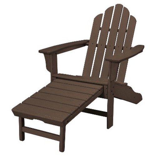 Hanover All-Weather Contoured Adirondack Chair with Hideaway Ottoman- Mahogany