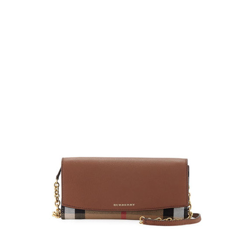 Henley Check & Leather Wallet-on-Chain, Tan