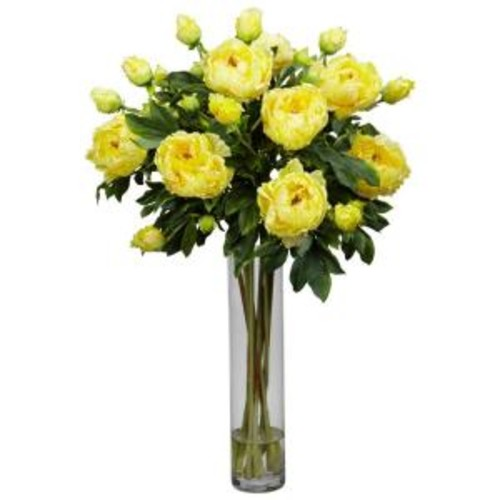 32 in. H Yellow Peony with Cylinder Silk Flower Arrangement